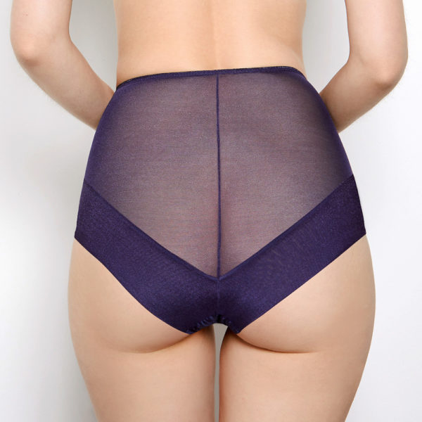 Abbie Purple Lace High Waisted Knickers Back View