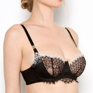 Black Leavers Lace Bra - Side View
