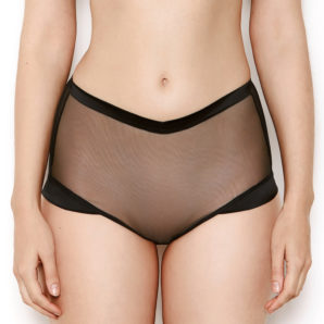 Nina Sheer Black High Waited Knickers - Front