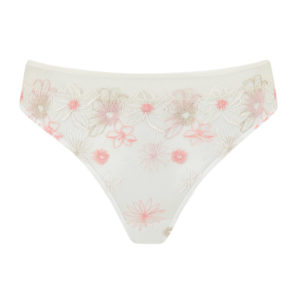 Eden Ivory Embroidered High Waisted Thong