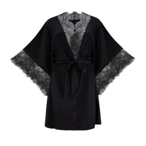 Ellianna Black Vintage Lace Robe